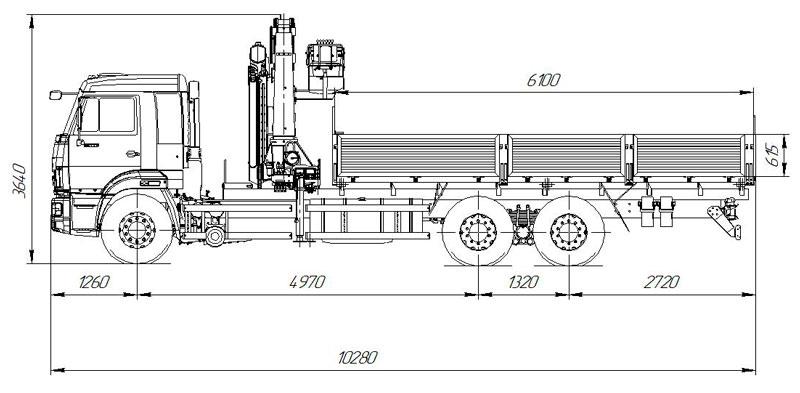 Габаритный чертеж бортового автомобиля Камаз 65117-3010-48(A5) с КМУ АНТ 22-4 (31)