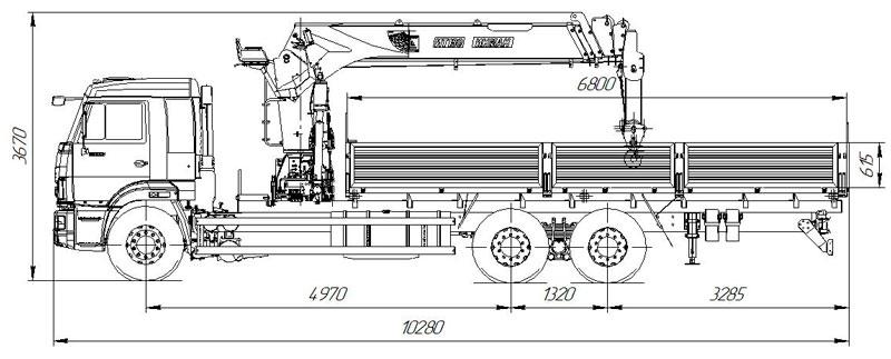 Габаритный чертеж бортового Камаз 65117-3010-48(A5) с КМУ ИТ-180 (33)