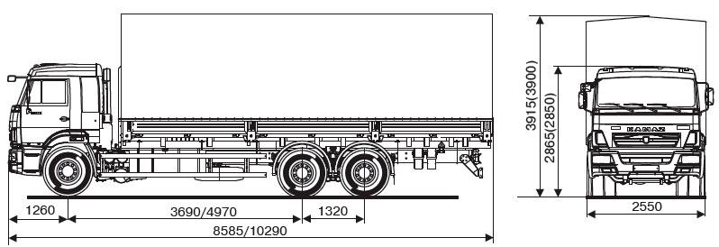 Габаритный чертеж бортового автомобиля Камаз 65117