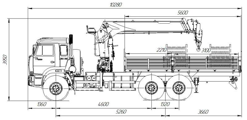 Габаритный чертеж бортового автомобиля Камаз 43118-3027-50 с КМУ HIAB 160T