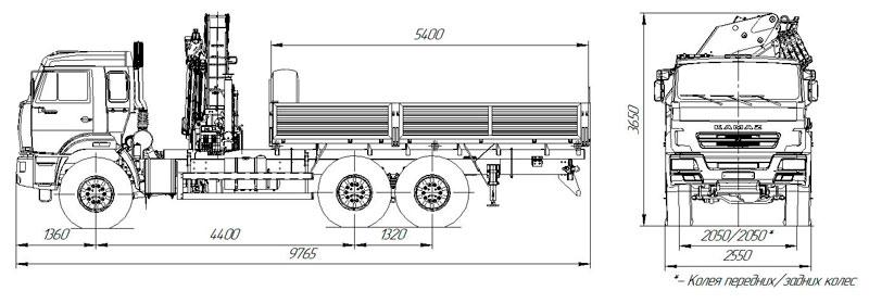 Габаритный чертеж бортового Камаз 43118-3011-50 с КМУ ИМ-320 (38)