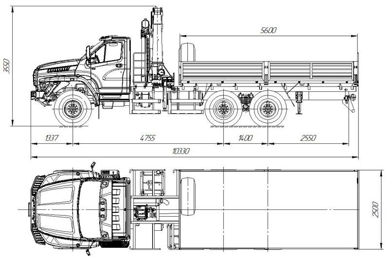 Габаритный чертеж бортового автомобиля Урал-NEXT 4320-6952-74Е5Г38 с КМУ АНТ 22-4