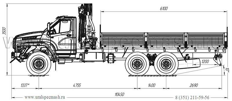Габаритный чертеж бортового автомобиля Урал-NEXT 4320-6952-72Е5Г38 с КМУ Palfinger 15500A