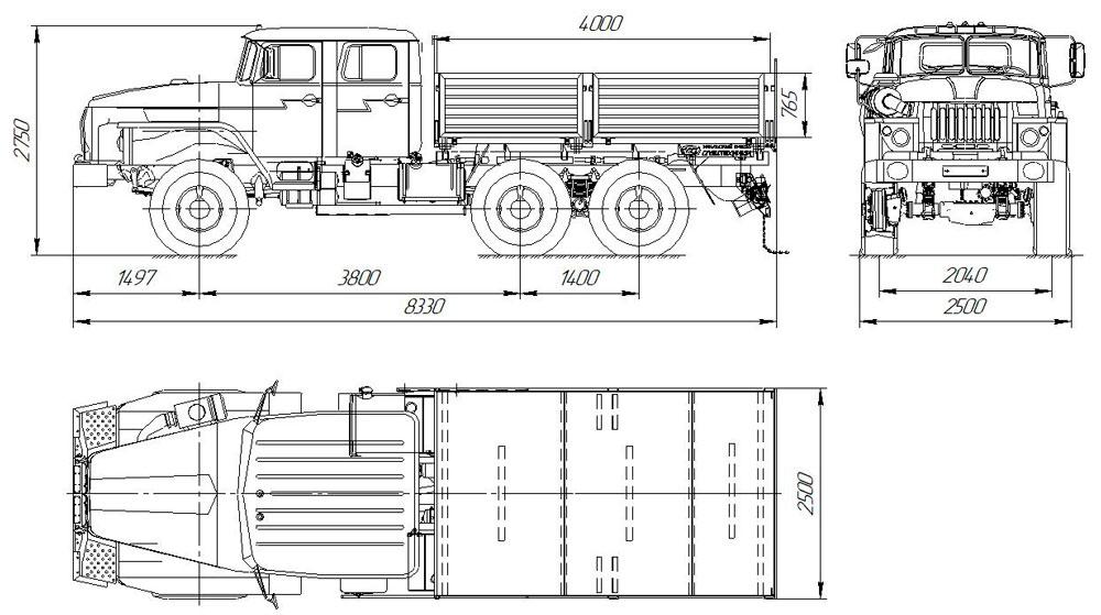 Габаритный чертеж бортового автомобиля Урал 4320-1112-61Е5 со сдвоенной кабиной