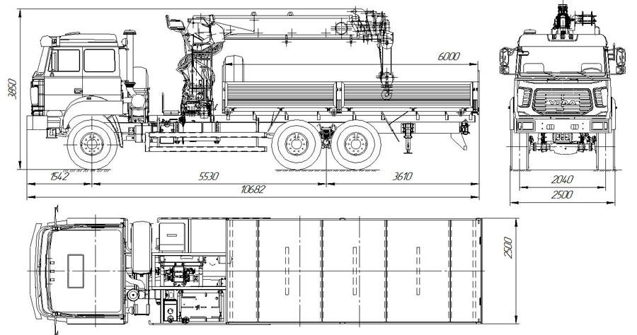 Габаритный чертеж бортового автомобиля Урал 4320-4972-80Е5 с КМУ АНТ 15-5ТЛ (36)