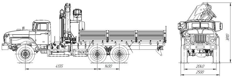 Габаритный чертеж бортового автомобиля Урал 4320-1916-72Е5 с КМУ ИМ-240 (32)