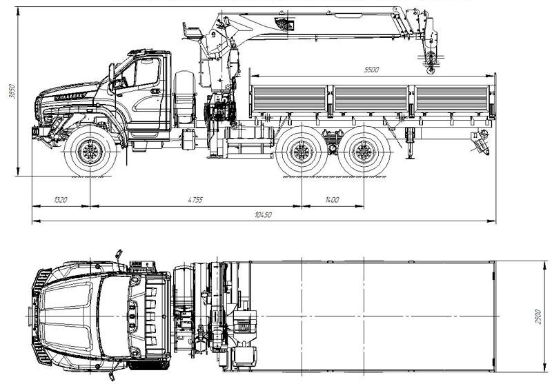 Габаритный чертеж бортового автомобиля Урал-NEXT 4320-6952-72Е5Г38 с КМУ DongYang SS1926