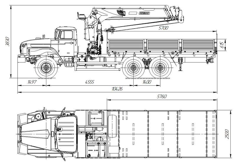 Габаритный чертеж бортового автомобиля Урал 4320-1912-60Е5 с КМУ ИТ-150