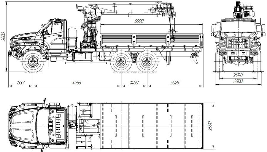 Габаритный чертеж бортового Урал-NEXT 4320-6952-72Е5Г38 с КМУ ИТ-200