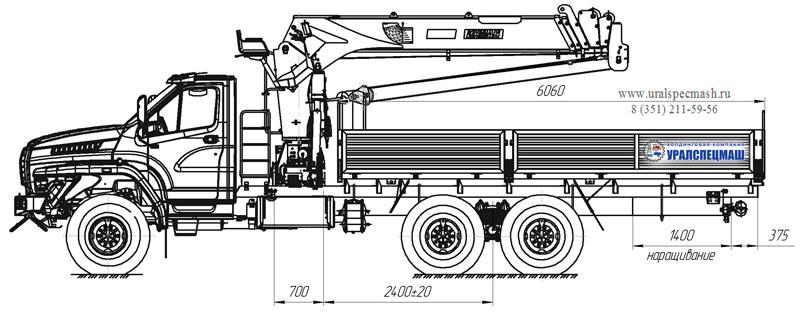 Габаритный чертеж бортового автомобиля Урал-NEXT 4320-6958-74Е5И06 с КМУ ИТ-150