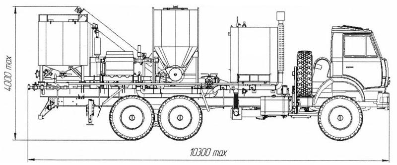 Габаритный чертеж цементировочного агрегата ЦА-32 Камаз 43118