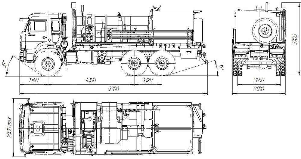 Габаритный чертёж цементировочного агрегата УЗСТ 5870-09 АЦ-004-11
