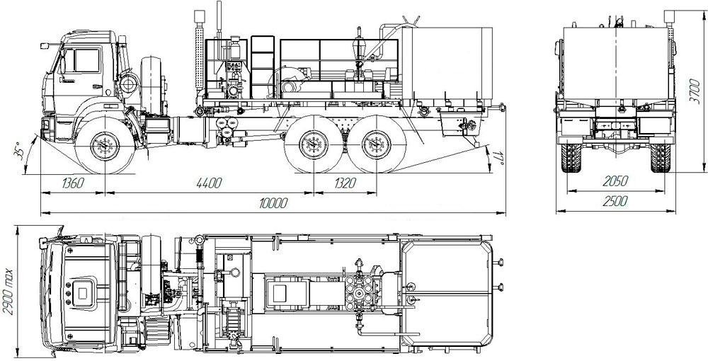 Габаритный чертёж цементировочного агрегата УЗСТ 5870-09 ЦА-010-11
