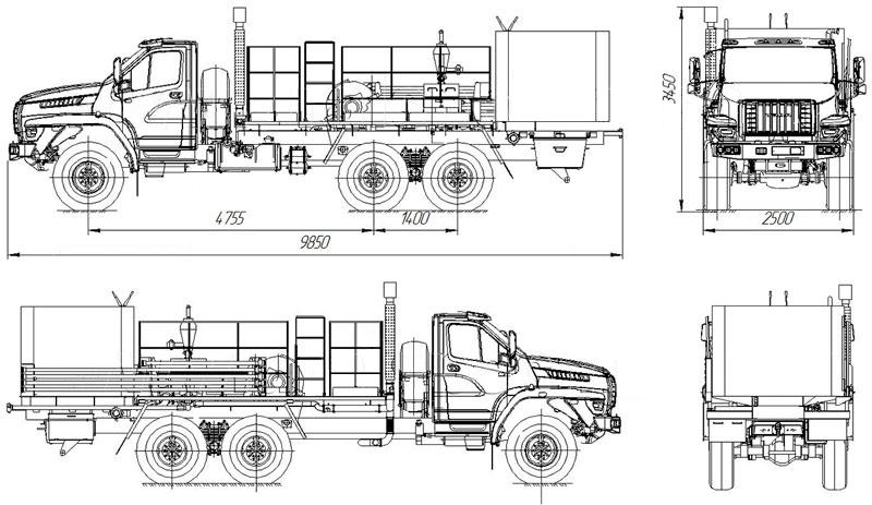 Габаритный чертеж цементировочного агрегата на шасси Урал-NEXT 4320-6952-74Е5Г38