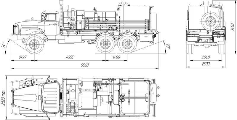 Габаритный чертеж цементировочного агрегата ЦА-32 УЗСТ-001-20 Урал 4320