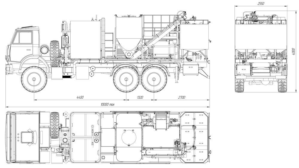 Габаритный чертеж цементировочно-смесительной установки на шасси Камаз 43118-3027-50