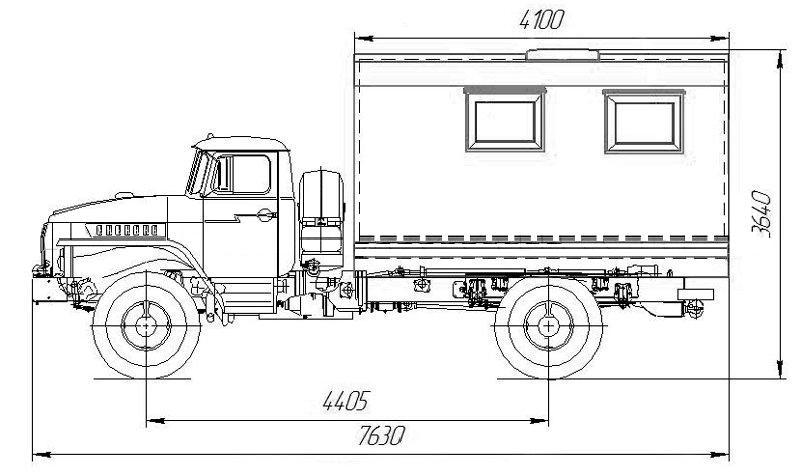 Габаритный чертеж фургона общего назначения Урал 43206
