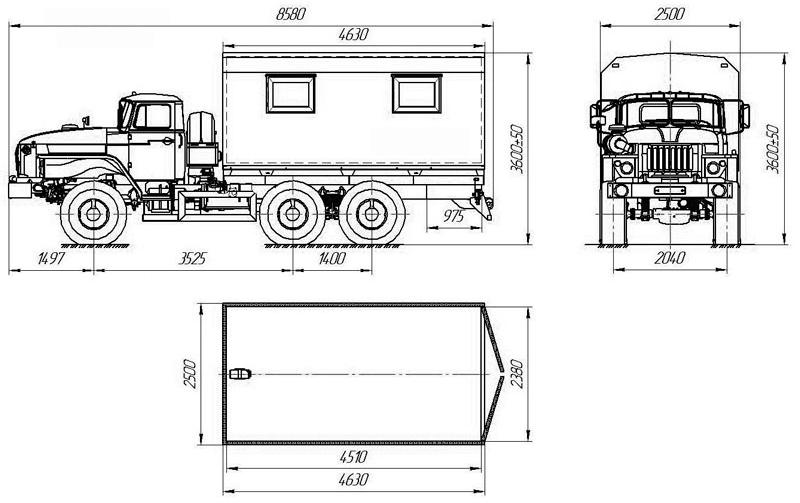 Габаритный чертеж фургона общего назначения на шасси Урал 432007-1112-31