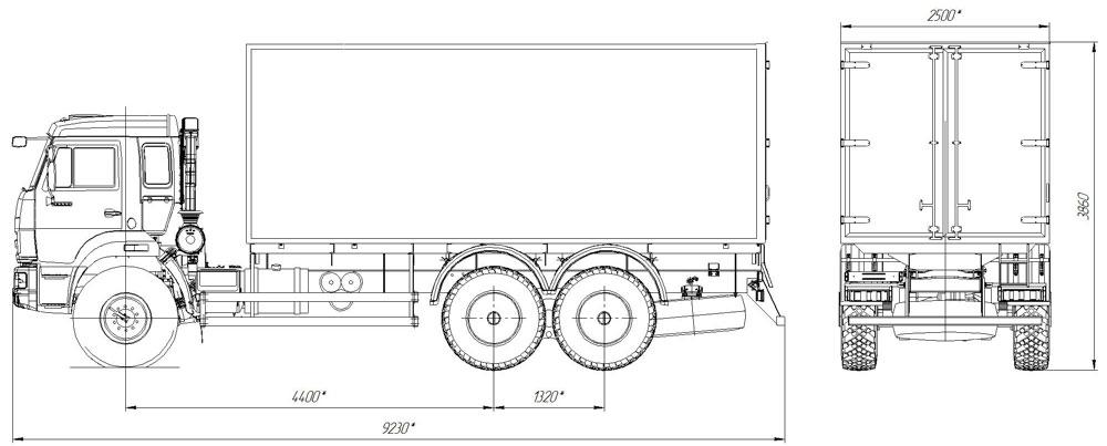 Габаритный чертеж фургона общего назначения Камаз 43118-3078-46