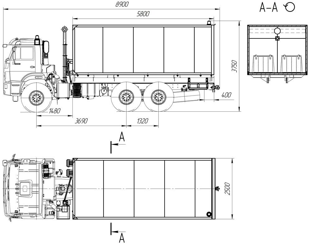 Габаритный чертеж автомобиля для перевозки взрывчатых веществ Камаз 43118-3027-50