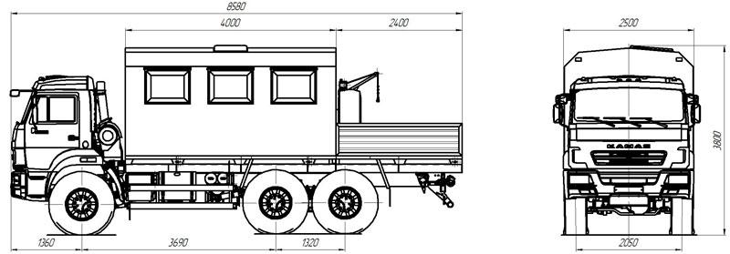 Габаритный чертеж грузопассажирского автобуса на шасс Камаз 43118-3027-50 (004)