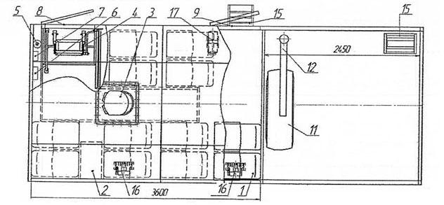 Планировка грузопассажирского автобуса Камаз 43118-3027-50 – 12 мест