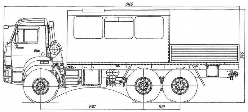 Габаритный чертеж грузопассажирского автобуса Камаз 43118-3027-50 – 12 мест