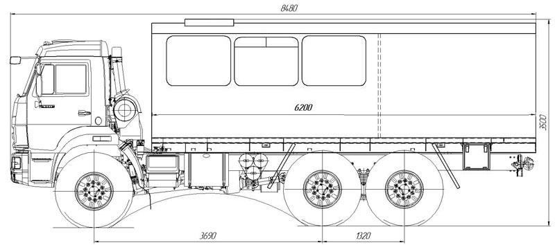 Габаритный чертеж вахтового автобуса ГПА Камаз 43118-3027-50 – 12 мест