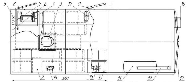 Планировка вахтового автобуса Камаз 43118-3027-50 – 12 мест