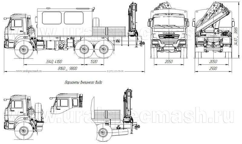Габаритный чертеж ГПА Камаз 5350-66(D5) с КМУ – 12 мест