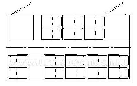 Планировка салона грузопассажирского автобуса Камаз 43118 – 16 мест