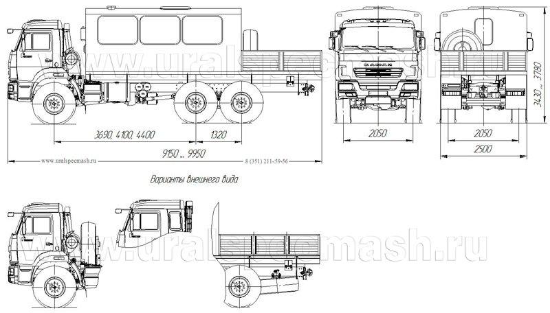 Габаритный чертеж грузопассажирского автобуса Камаз 43118 – 16 мест