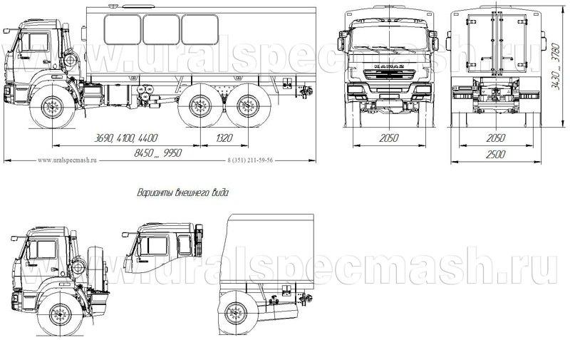 Габаритный чертеж грузопассажирского автобуса ГПА Камаз 43118-50 – 16 мест
