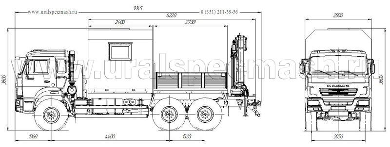 Габаритный чертеж грузопассажирского автобуса Камаз 43118-3178-RF с КМУ АНТ 8.5-2