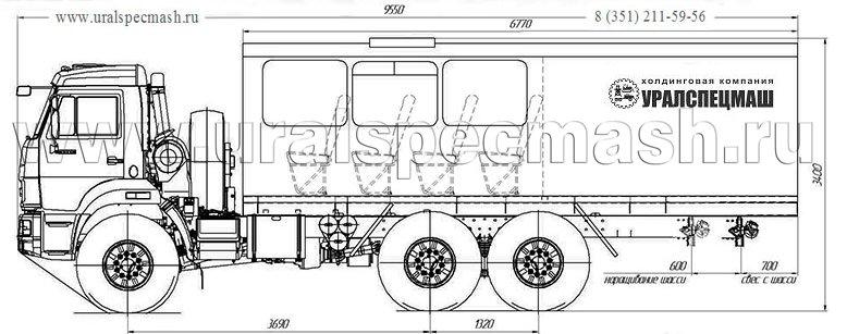 Габаритный чертеж вахтового автобуса Камаз 43118-3017-50 – 14 мест