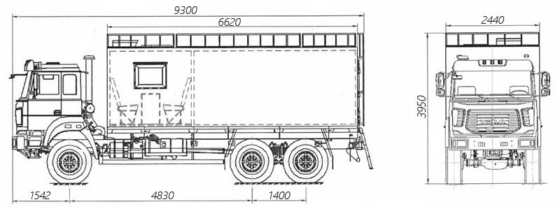 Габаритный чертеж грузопассажирского автобуса ГПА Урал 4320-4952-82Е5 (006)