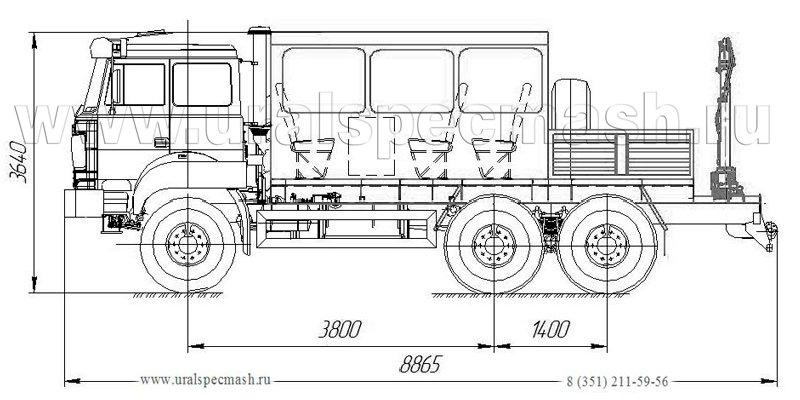 Габаритный чертеж грузопассажирского автобуса ГПА Урал 4320-4151-81Е5 с КМУ ИМ-15