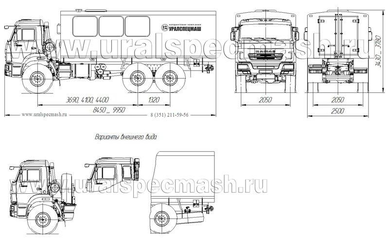 Габаритный чертеж грузопассажирского автобуса ГПА Камаз 5350-66(D5) – 16 мест