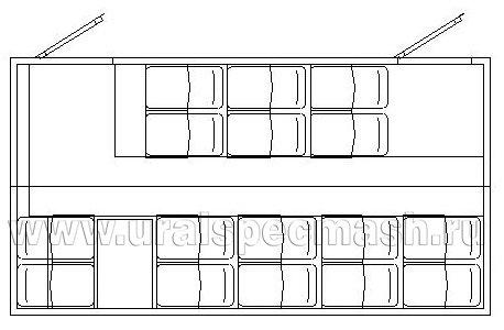 Планировка салона грузопассажирского автобуса Камаз 5350-42 – 16 мест