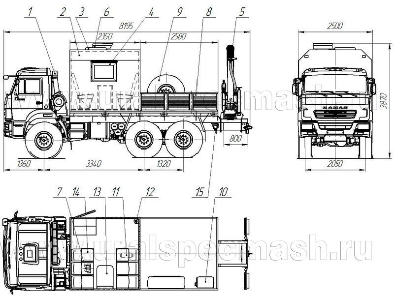 Планировка грузопассажирского автомобиля Камаз 5350-3014-66(D5) с КМУ ИМ-77
