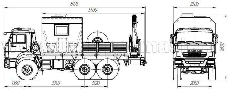 Габаритный чертеж грузопассажирского автомобиля Камаз 5350-3014-66(D5) с КМУ ИМ-77