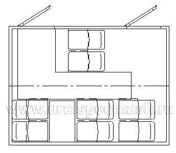 Планировка салона грузопассажирского автобуса Камаз 5350 -66(D5) с КМУ