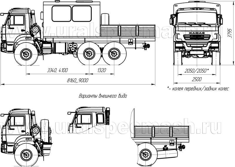 Габаритный чертеж грузопассажирского автобуса Камаз 5350-66(D5)