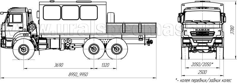 Габаритный чертеж грузопассажирского автобуса Камаз 43118-3017-50