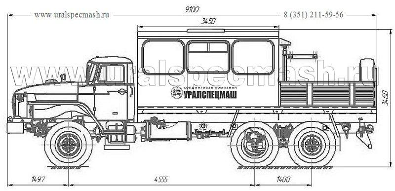 Габаритный чертеж грузопассажирского автобуса на шасси Урал 4320-1912-72Е5