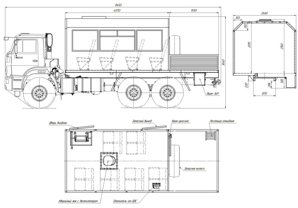Габаритный чертеж грузопассажирского автобуса ГПА Камаз 43118-3011-50 (002) – 12 мест