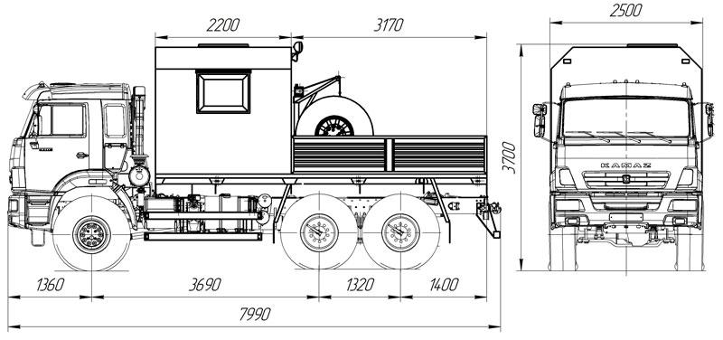 Габаритный чертеж грузопассажирского автобуса ГПА Камаз 43118-3027-50 (011) – 6 мест