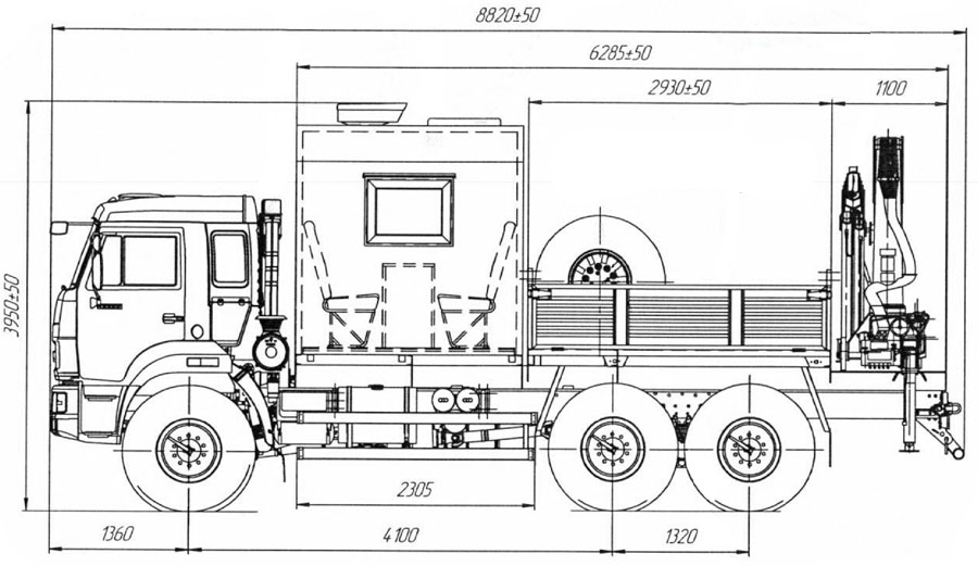 Габаритный чертеж грузопассажирского автобуса на шасси Камаз 43118-3088-50 с КМУ АНТ 12-2