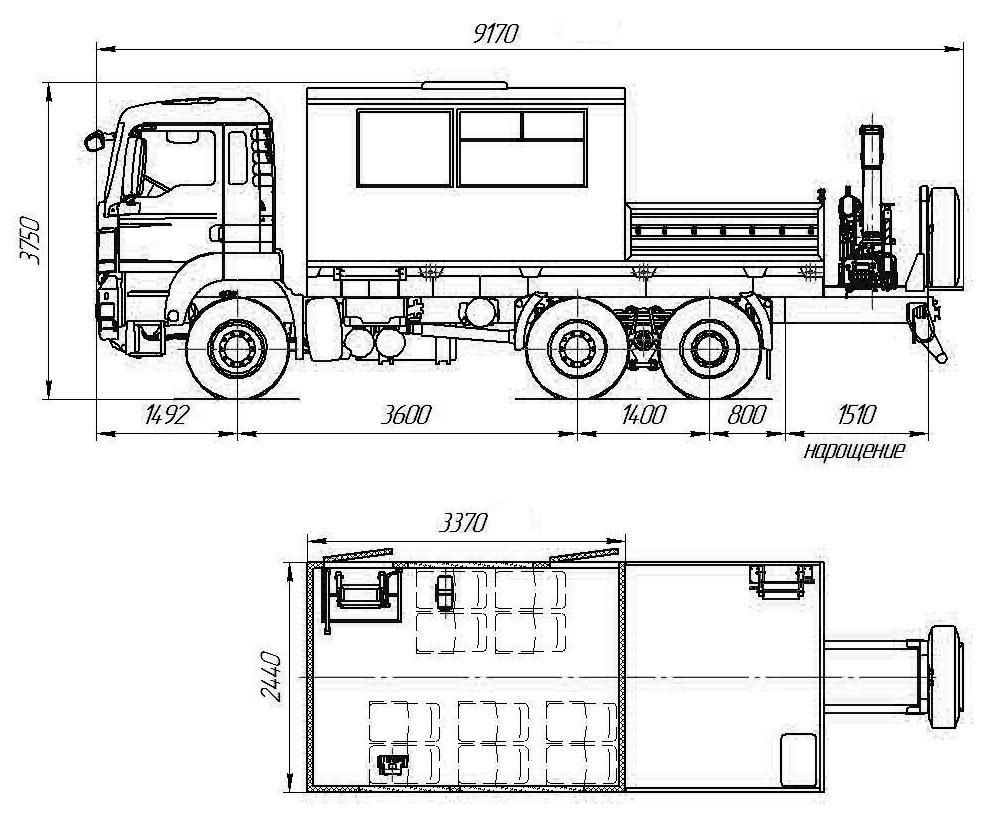 Габаритный чертеж грузопассажирского автобуса ГПА MAN TGS 40.430 с КМУ АНТ 8.5-2 (001)