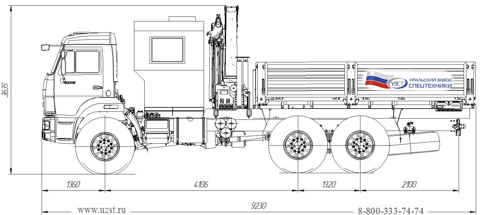 Габаритный чертеж грузопассажирского автобуса Камаз 43118-3011-50 с КМУ Palfinger PK 15500